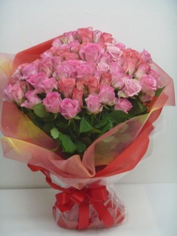 ピンクのバラ100本花束♪
