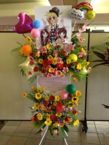 日本ガイシホールに、バルーンスタンド花をお届け♪